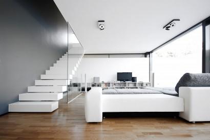Diseño de interiores de sala en blanco y negro