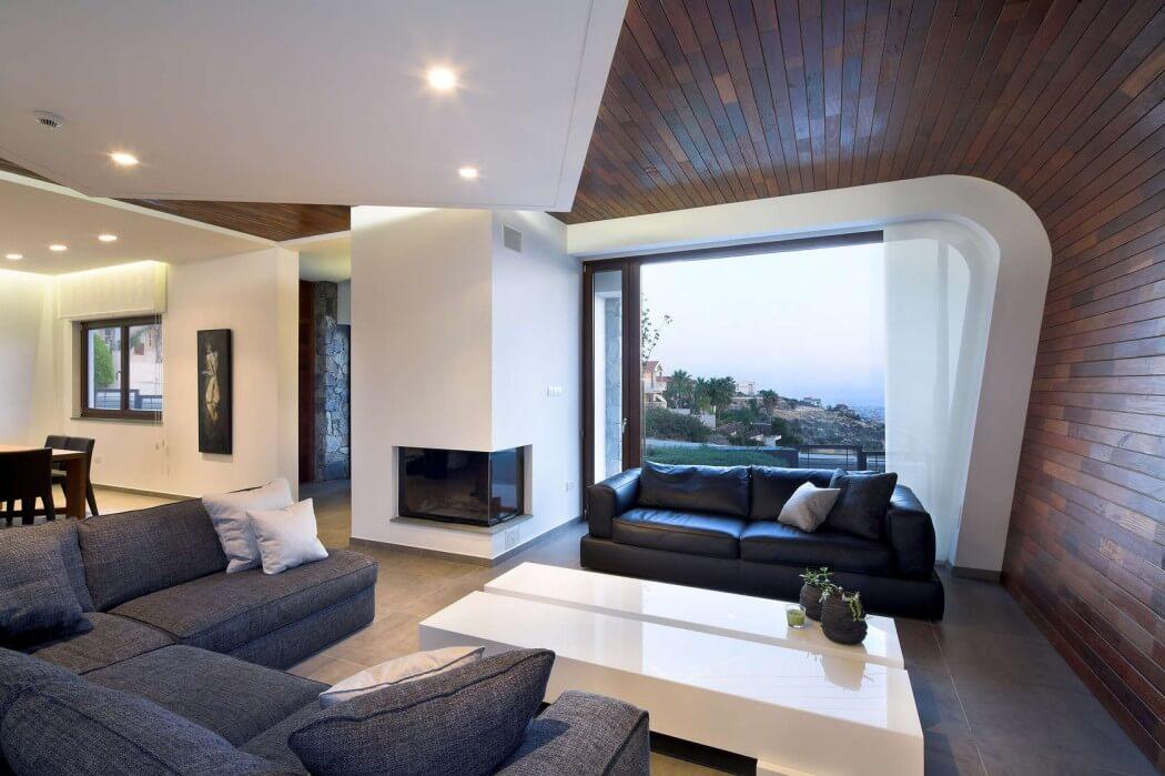 diseo de interiores de sala moderna con paredes y techos semi abovedados