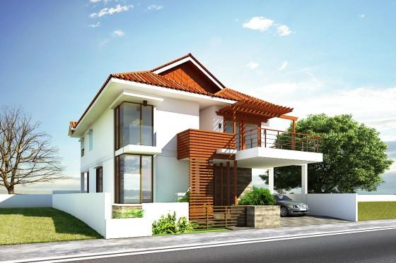 Diseño de moderna casa de dos plantas con techos inclinados