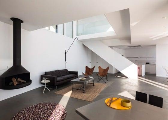Diseño de sala moderna de casa de playa