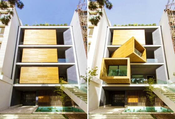 Fachada  de casa moderna con habitaciones frontales móviles