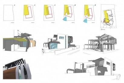 Gráfico 3D de detalles constructivosn de moderna casa de dos pisos