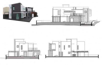 Modelo 3D y alzados de casa moderna