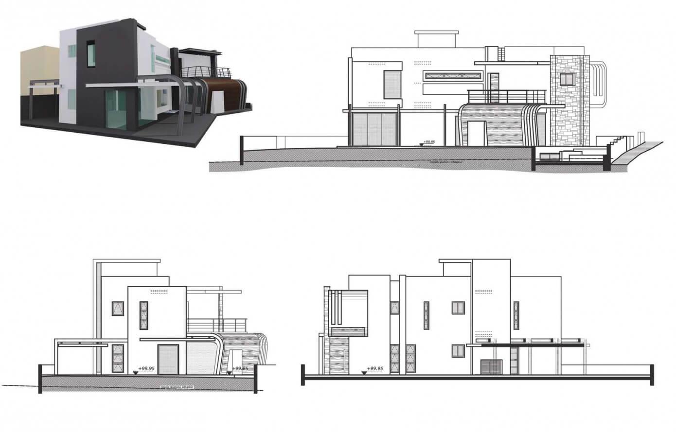 Modelo 3d y alzados de casa moderna de dos plantas for Planos y fachadas de casas modernas