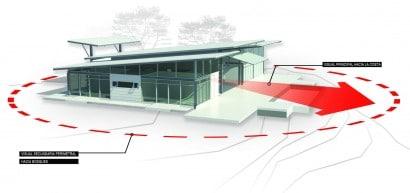 Plano 3D de casa de una planta con indicaciones