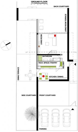 Plano de casa de dos pisos - Primera planta