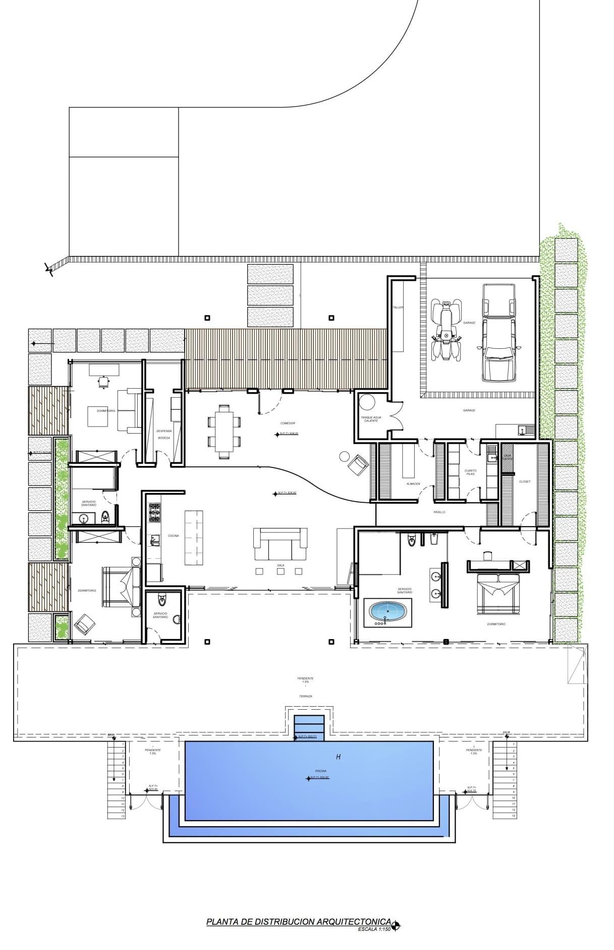 Planos de casa de un piso de campo construye hogar - Distribucion casa alargada ...