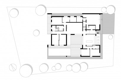 Plano de casa de un piso de forma cuadrada