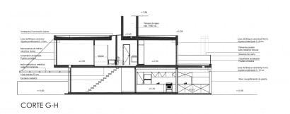 Plano de corte de casa de dos pisos G - H