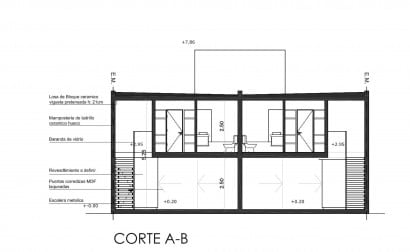Plano de corte de casa de dos plantas A - B