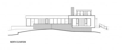 Plano de elevación norte de casa de un piso