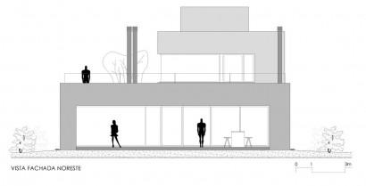 Plano de fachada Noreste de casa de dos pisos