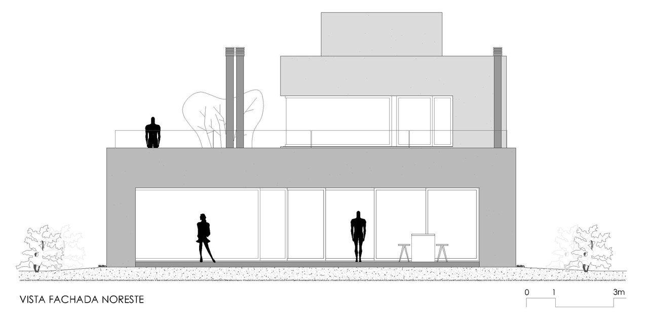 Plano de fachada noreste de casa de dos pisos construye for Planos de fachadas
