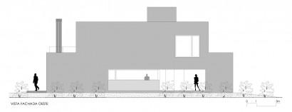 Plano de fachada Oeste de casa de dos plantas
