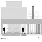 Plano de fachada Sudeste de casa de dos pisos