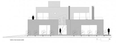 Plano de fachada este de casa de dos plantas