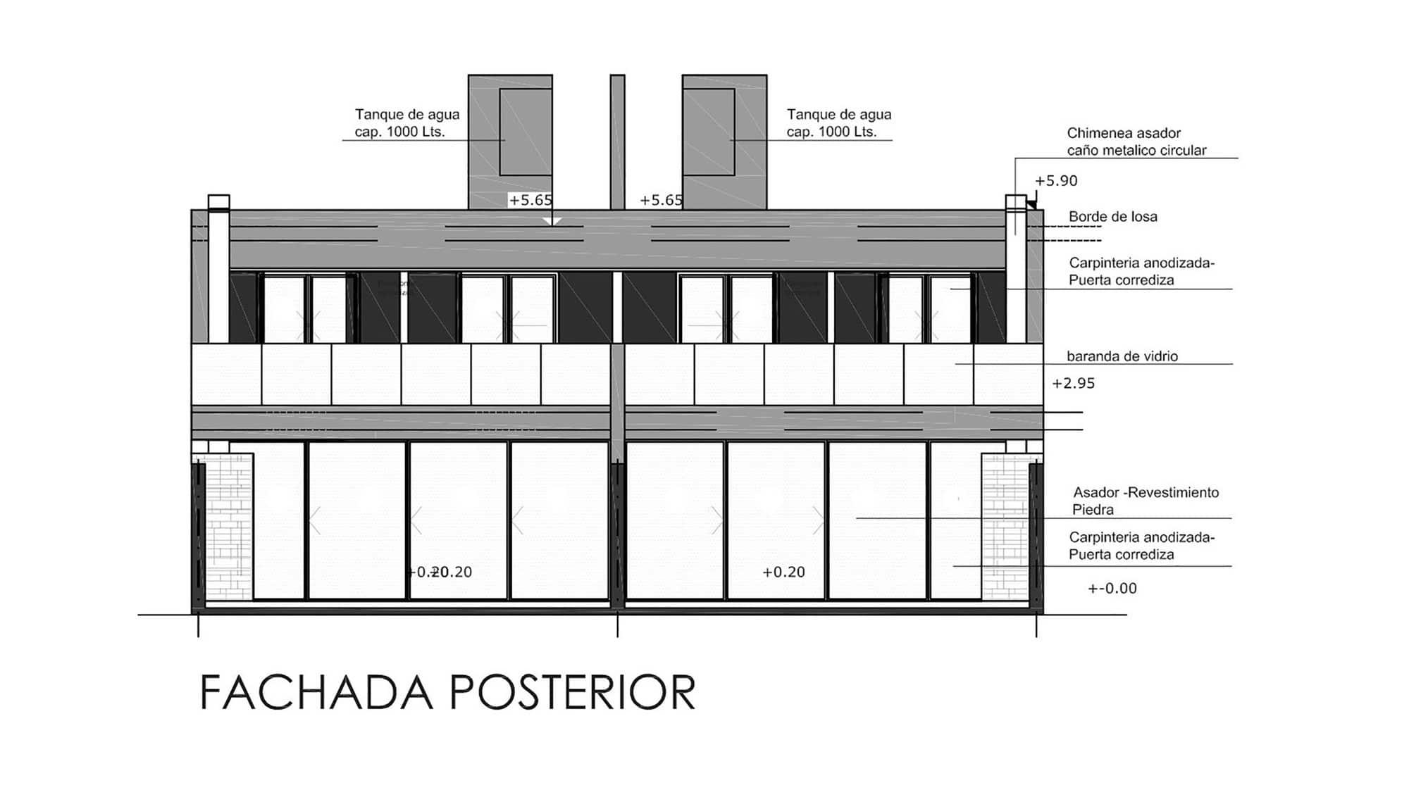 Plano de fachada posterior de casa de dos pisos for Planos y fachadas de casas