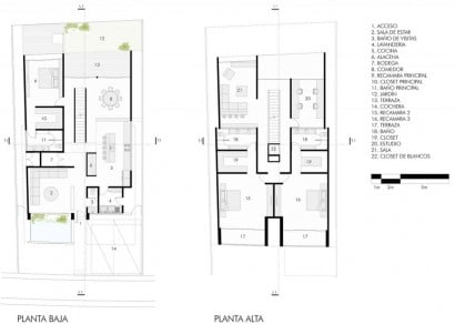 Planos de casa de dos pisos construida en hormigón