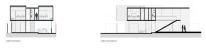 Planos de corte de moderna casa de dos pisos