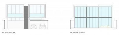 Planos de elevación de casa de dos pisos