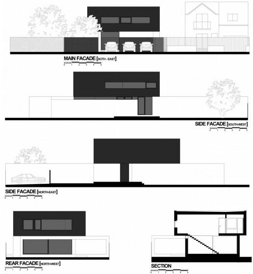 Planos de elevaciones y cortes de casa de dos plantas