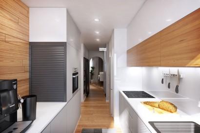 Diseño de cocina muy pequeña de departamento