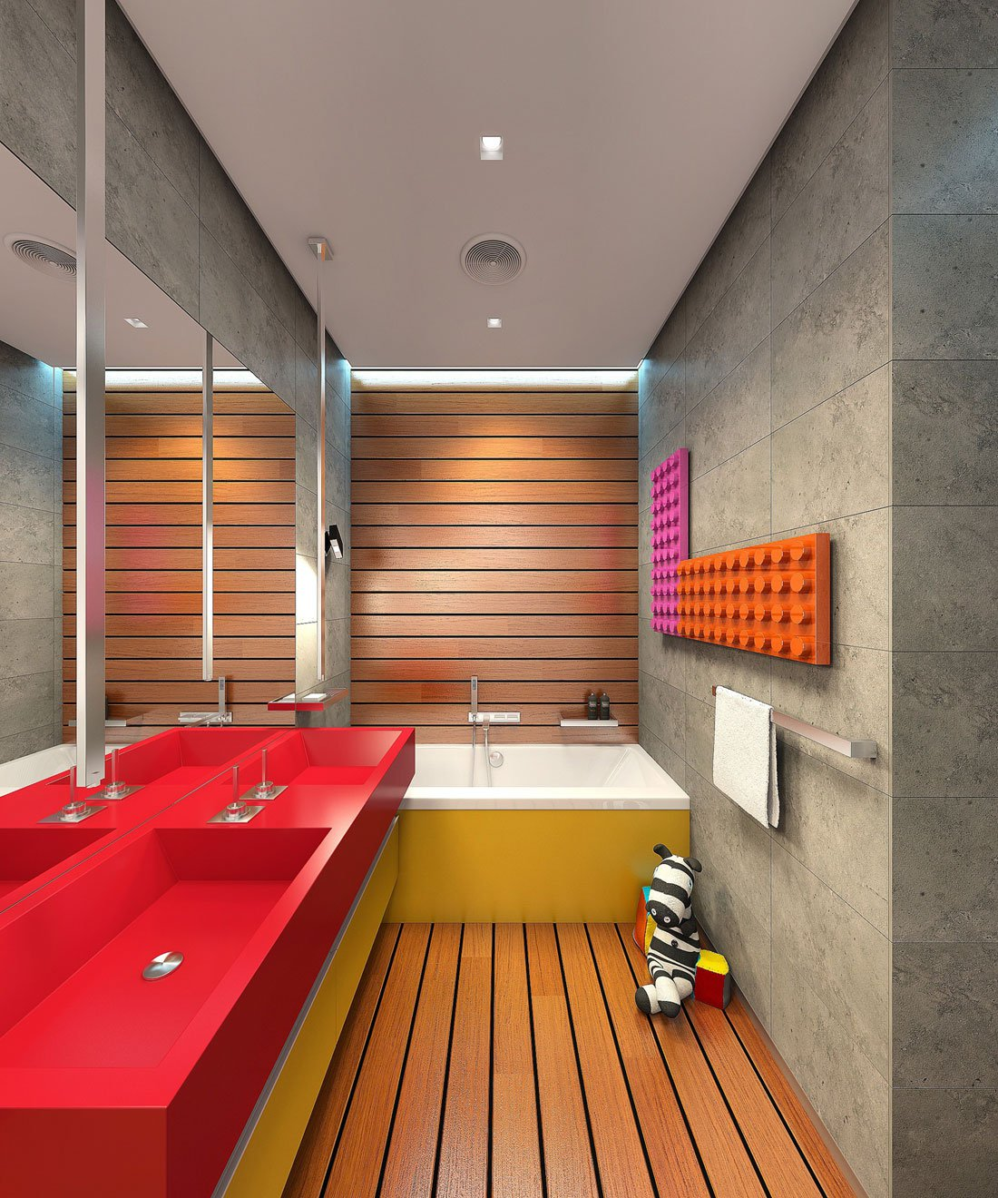 Dise o de cuarto de ba o moderno colores rojo y amarillo for Disenos de cuartos modernos
