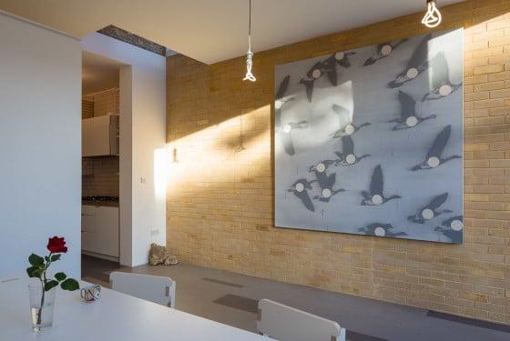 Diseño de interiores rústico moderno, pared de ladrillo