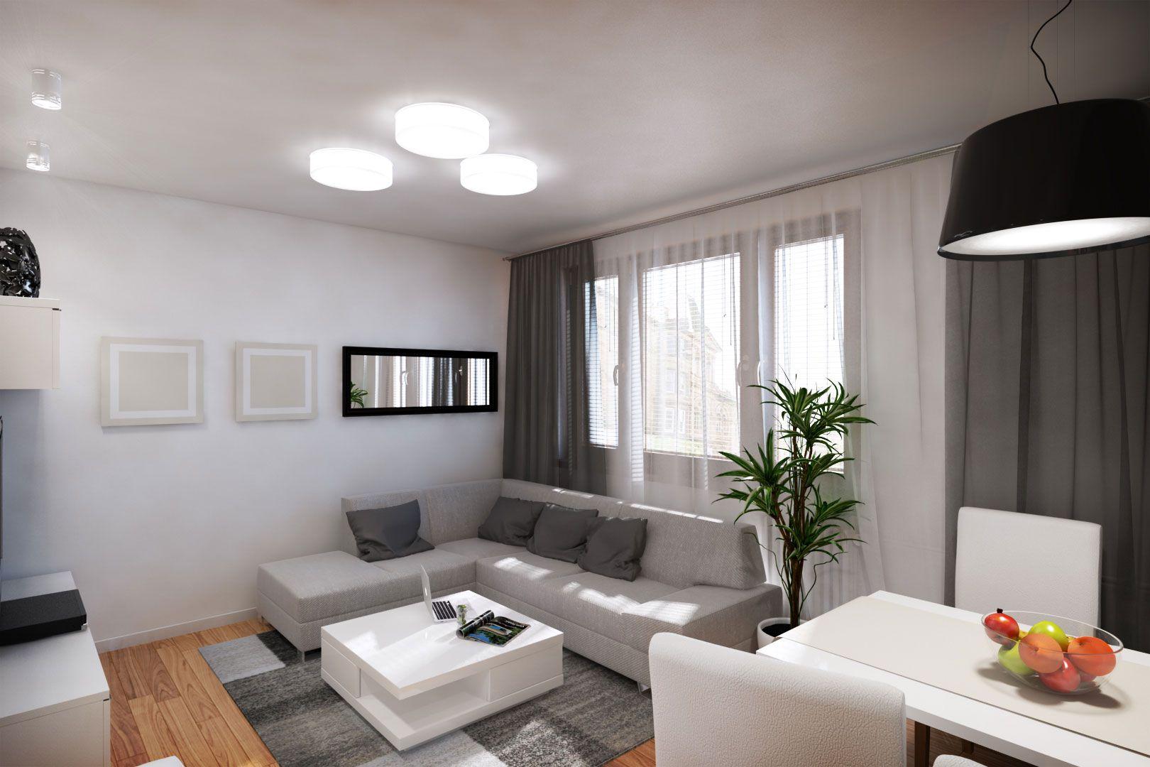 Dise o departamento peque o 62 m planos construye hogar for Salas para departamentos pequenos