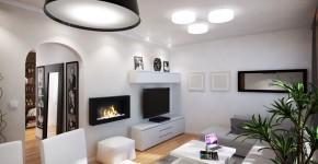Diseño de sala sencillo de departamento moderno