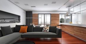 Diseño de sala y cocina moderna