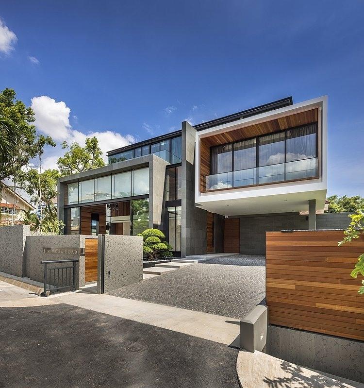 fachada de casa moderna de hormign con detalles de madera