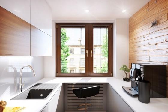 Diseño de ventana de cocina muy pequeña
