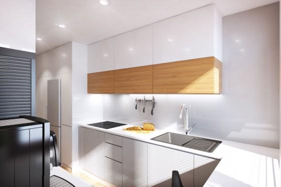 Muebles blancos de cocina combinado con madera color natural