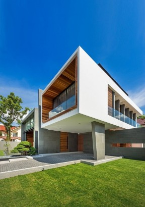 Perfil de casa moderna de hormigón