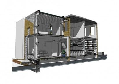 Plano 3D de casa de dos pisos - Plano de corte