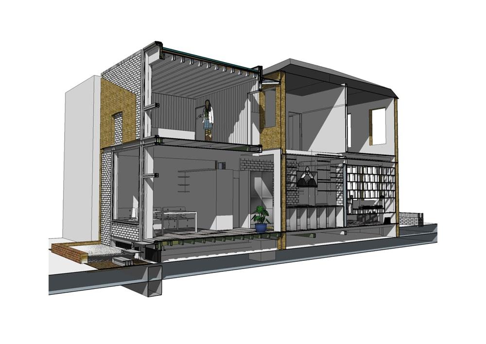 Plano 3d de casa de dos pisos plano de corte construye hogar - Planos de casa en 3d ...