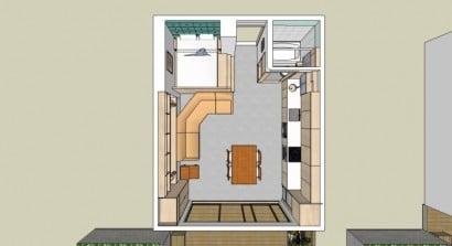Plano 3D de departamento de un dormitorio