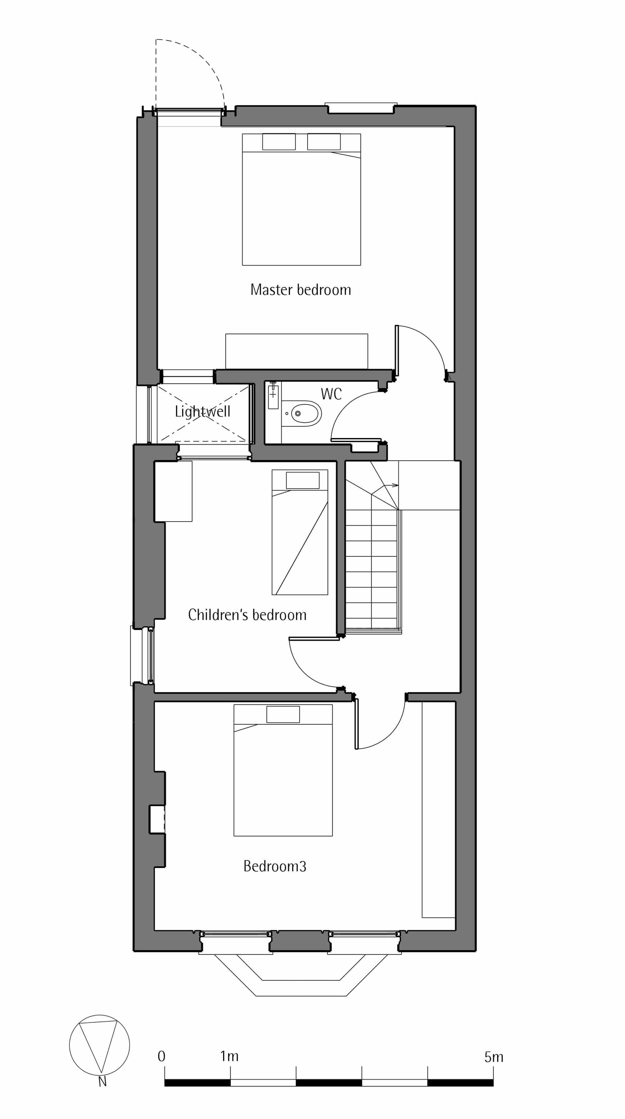 Dise o de casa de dos pisos peque a construye hogar for Plano de pieza cocina y bano