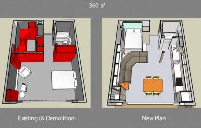 Plano de departamento pequeño de un dormitorio (Antes y despues)