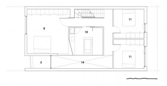 Planos de casa de dos pisos y tres dormitorios - Segunda planta