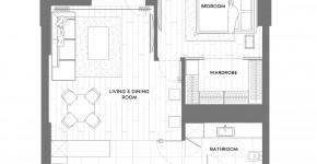 Planos de departamento pequeño de 58 m²