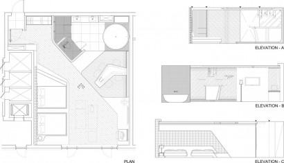 Planos de departemento pequeño y moderno