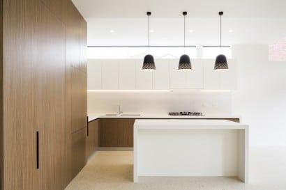 Diseño de cocina minimalista de madera