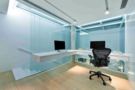 Diseño de cuarto de estudio transparente