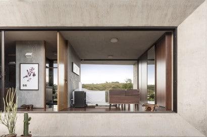 Diseño de dormitorio de casa de hormigón