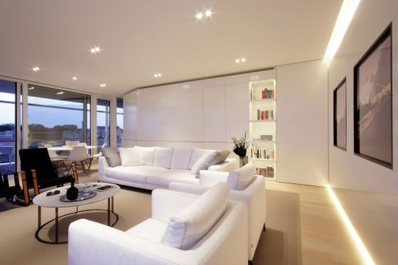 Diseño de interiores sala de departamento moderno