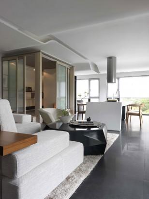 Diseño de sala y cocina en departamento pequeño