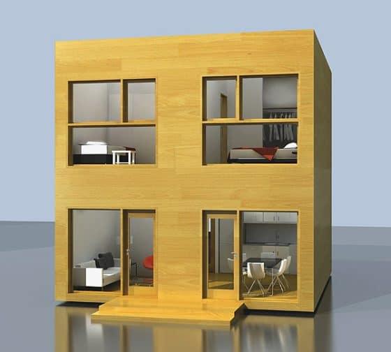 Fachada de casa pequeña económica de dos pisos
