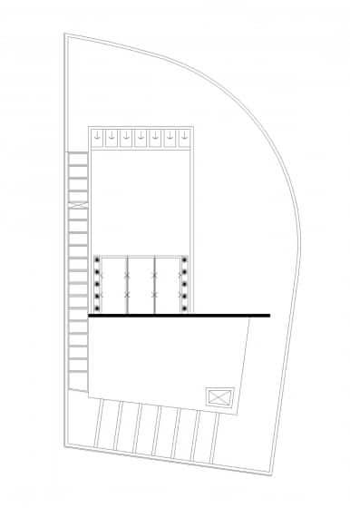 Plano de techo de casa moderna ubicado en esquina
